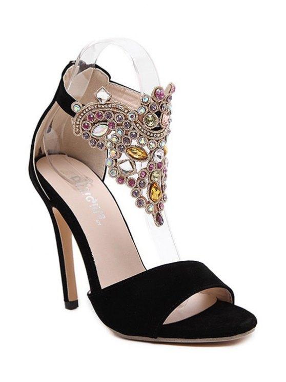 Flock Stiletto Heel Colorful Rhinestone Sandals - BLACK 40 Mobile