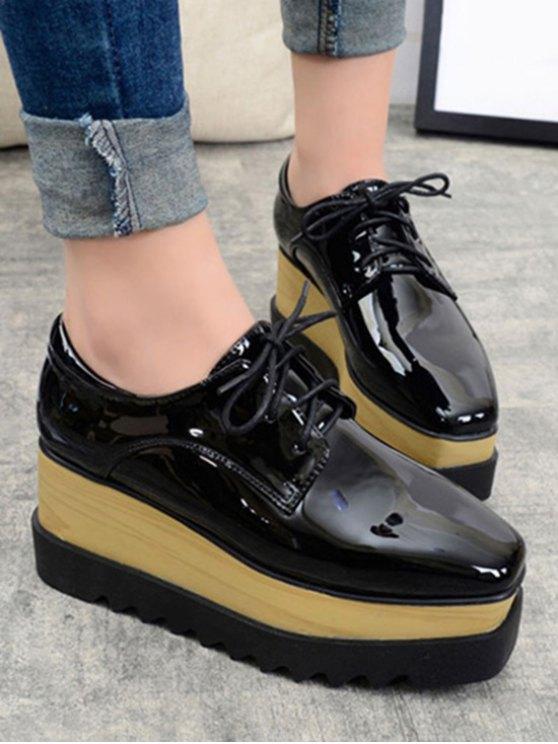 Black Lace-Up Patent Leather Platform Shoes - BLACK 36 Mobile