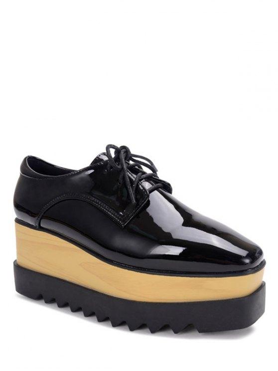 shops Black Lace-Up Patent Leather Platform Shoes - BLACK 36