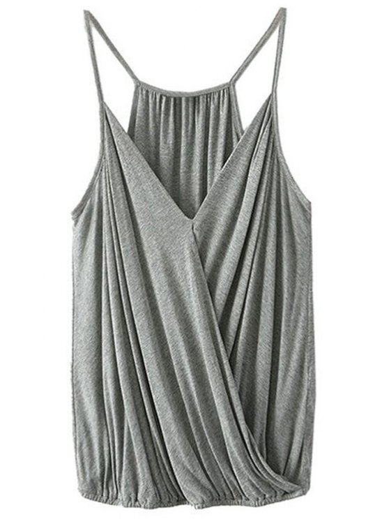 ladies Crossover Draped Cami Tank Top - GRAY S