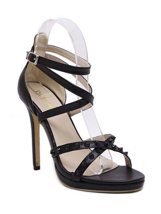 buy Cross-Strap Rivet Stiletto Heel Sandals - BLACK 38
