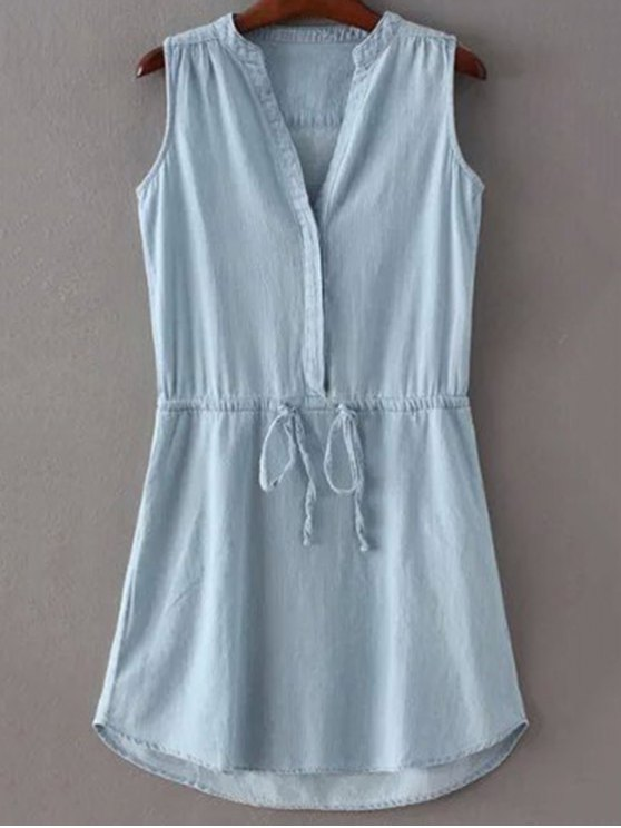 Drawstring Stand Collar Sleeveless Pockets Dress - ICE BLUE L Mobile