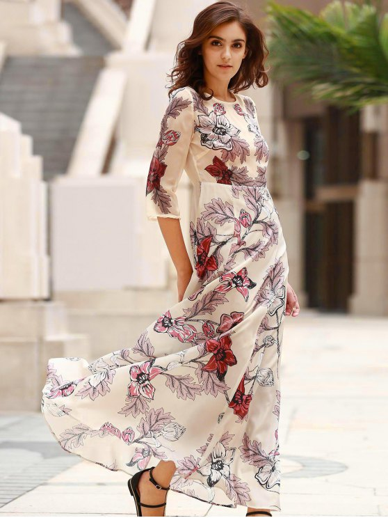 3/4 Sleeve Floral Print Long Dress - OFF-WHITE L Mobile