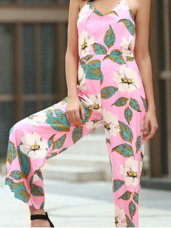 Floral Print Halter Backless Jumpsuit - PINK M Mobile