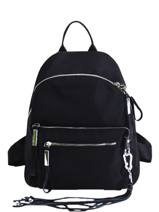 latest Splicing Tassels Zippers Backpack - BLACK
