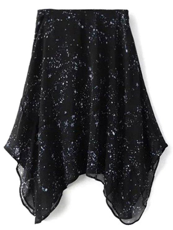Galaxy Spaghetti Strap Chiffon Dress - BLACK L Mobile