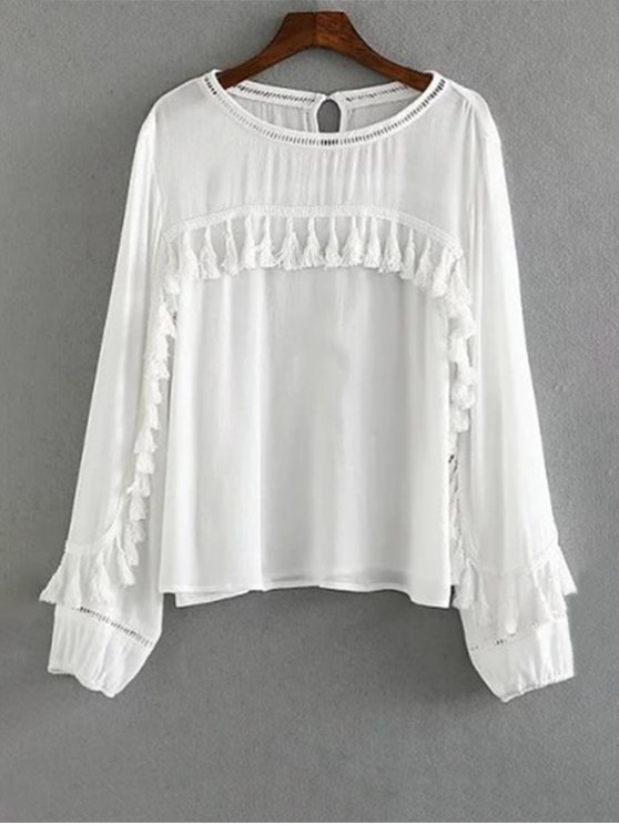fashion White Fringe Long Sleeve Blouse - WHITE L