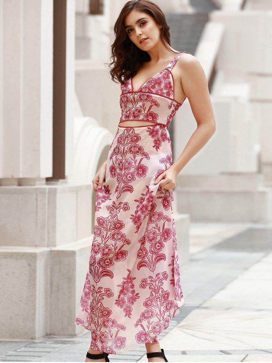 Waist Cutout Maxi Beach Dress - RED WITH WHITE S Mobile