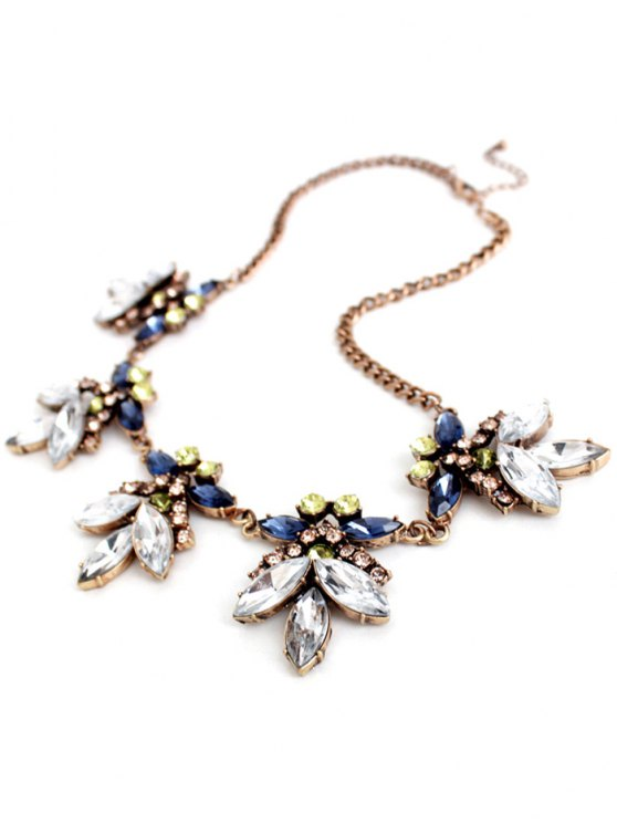Floral Faux Crystal Necklace -   Mobile