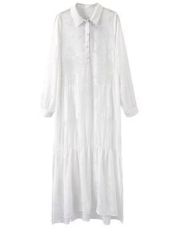 hot Solid Color Embroidery Turn-Down Collar Long Sleeve Dress - WHITE M