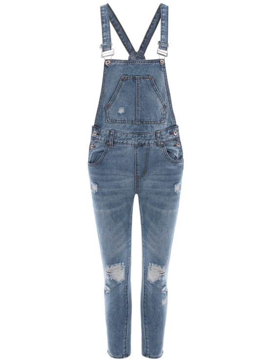 Bleach Wash Ripped Denim Overalls - BLUE XL Mobile