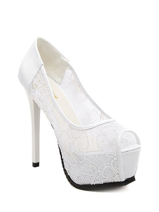Lace Platform Stiletto Heel Peep Toe Shoes - WHITE 34 Mobile