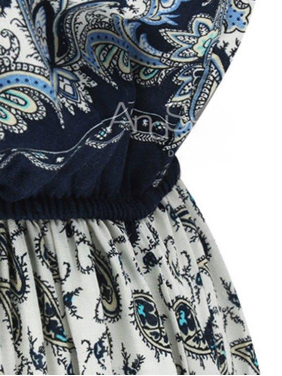 Paisley Print Draped Midi Dress - LIGHT BLUE M Mobile