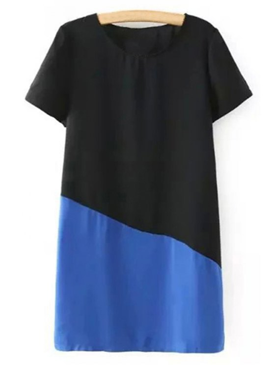 Color Block Short Sleeve Round Collar T-Shirt Dress - BLUE L Mobile