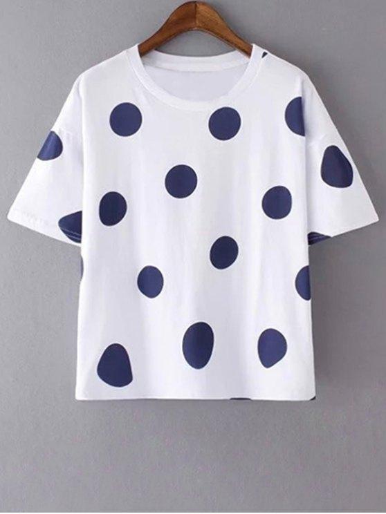 fancy Polka Dot Round Neck Short Sleeves T-Shirt - WHITE L