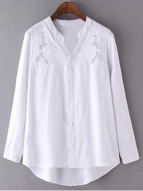 sale Embroidery Stand Neck Long Sleeve Shirt - WHITE M