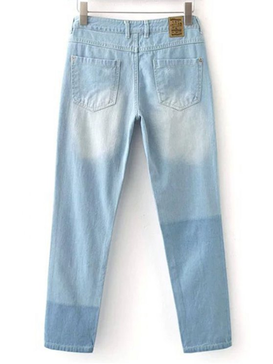 Broken Hole Boyfriend Jeans - LIGHT BLUE M Mobile