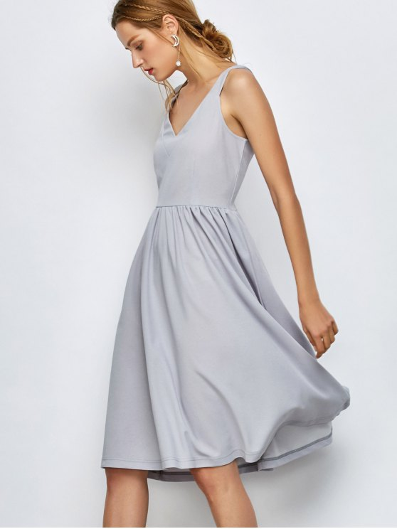 outfits Knee Length A Line Dress - GRAY S
