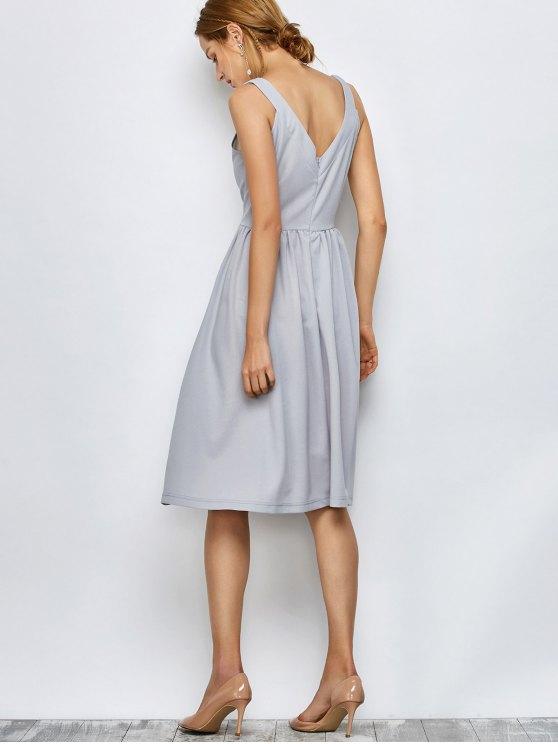 Knee Length A Line Dress - GRAY M Mobile