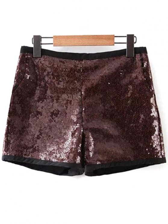 fashion Back Zipper Sequins Shorts - DEEP BROWN L