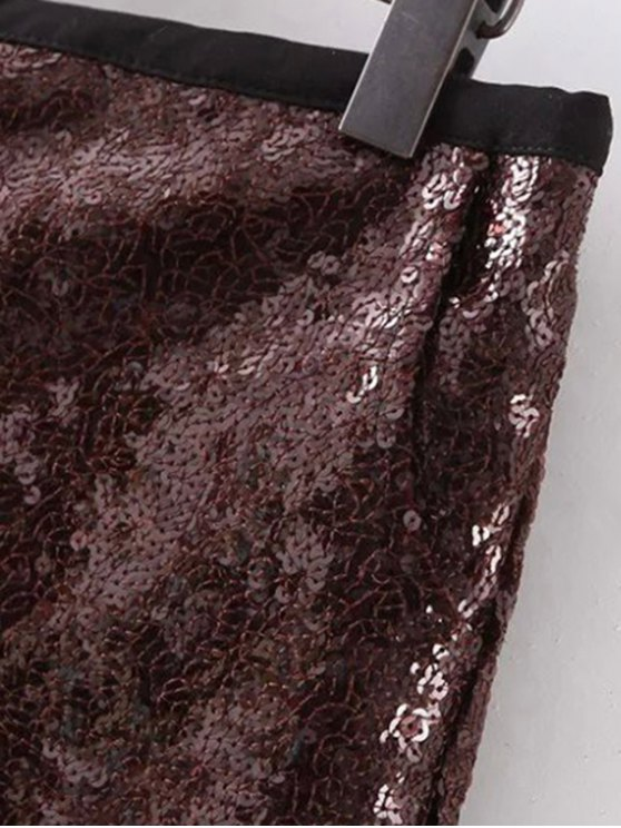 Back Zipper Sequins Shorts - DEEP BROWN M Mobile
