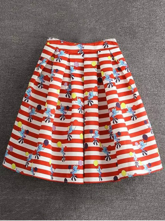 new Cartoon Print Striped Ball Gown Skirt - RED M