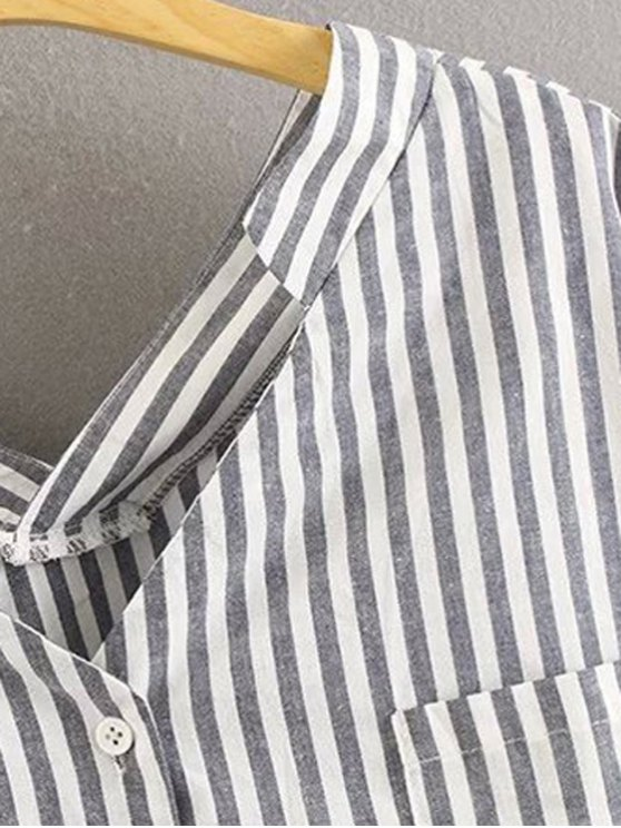 Preppy Style Striped Dropped Sleeve Shirt - GRAY M Mobile