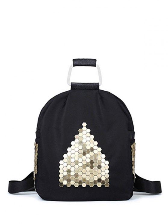 fashion Metallic Zip Black Satchel - BLACK