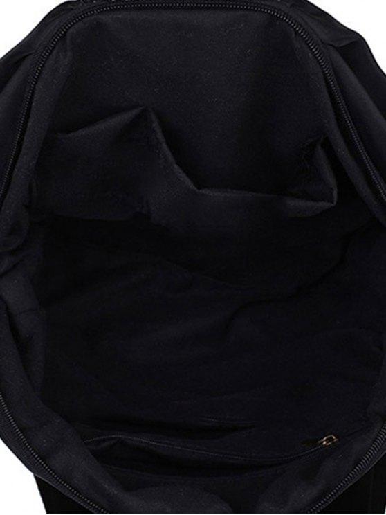 Metallic Zip Black Satchel - BLACK  Mobile