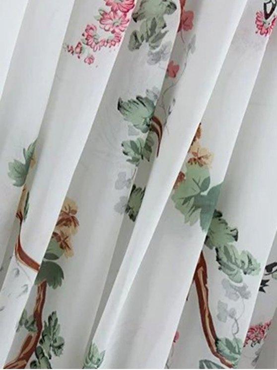 Flroal Print Ruffle Sleeve White Dress - WHITE S Mobile