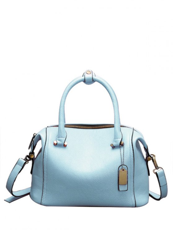 trendy PU Leather Candy Color Tote Bag - BLUE