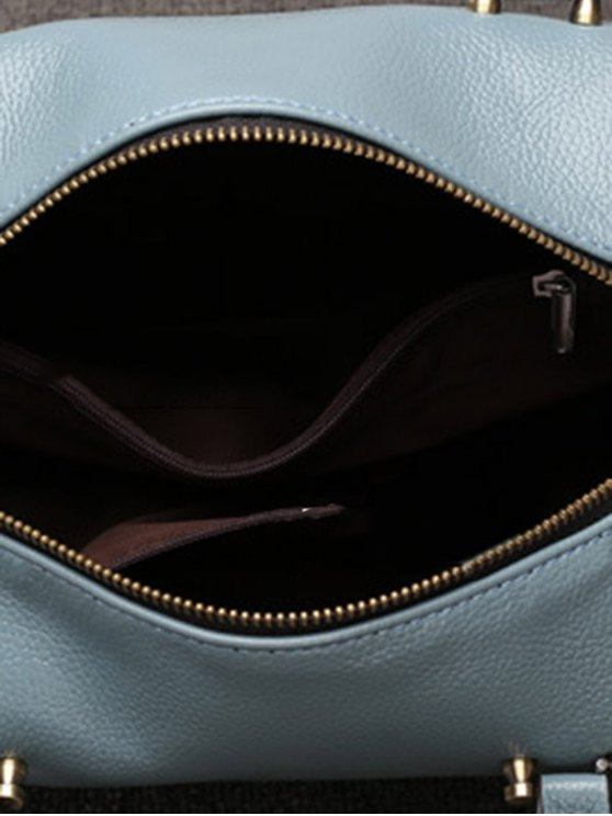 PU Leather Candy Color Tote Bag - BLUE  Mobile