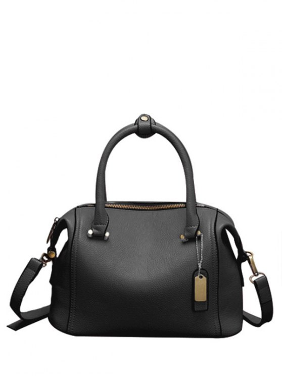 shops PU Leather Candy Color Tote Bag - BLACK