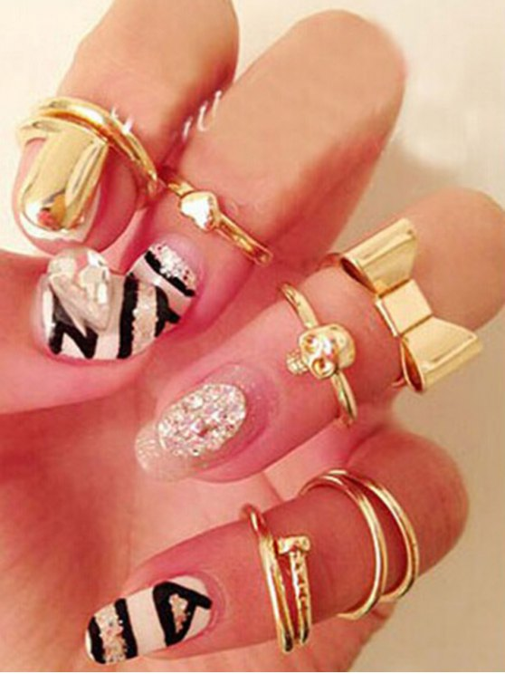 shops Bow Skull Embellished Golden Rings - GOLDEN ONE-SIZE