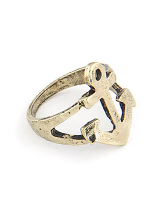 Hollow Out Boat Anchor Shape Ring - GOLDEN ONE-SIZE Mobile
