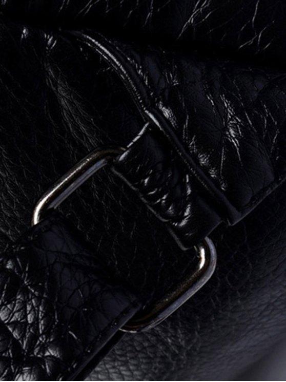 Rivet Solid Color PU Leather Satchel - LIGHT GRAY  Mobile