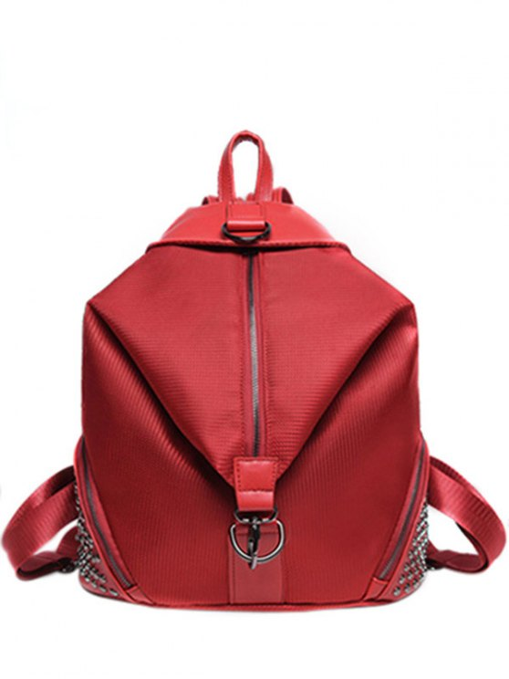 Solide Couleur Splicing Rivet Satchel - Rouge
