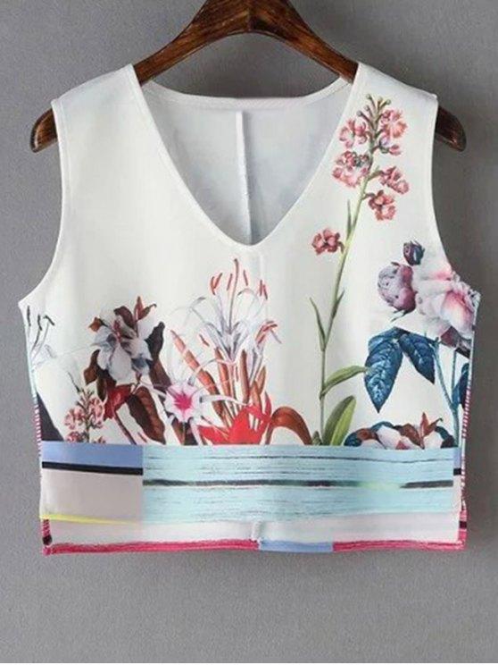 best Floral Print V-Neck Cropped Tank Top - WHITE L