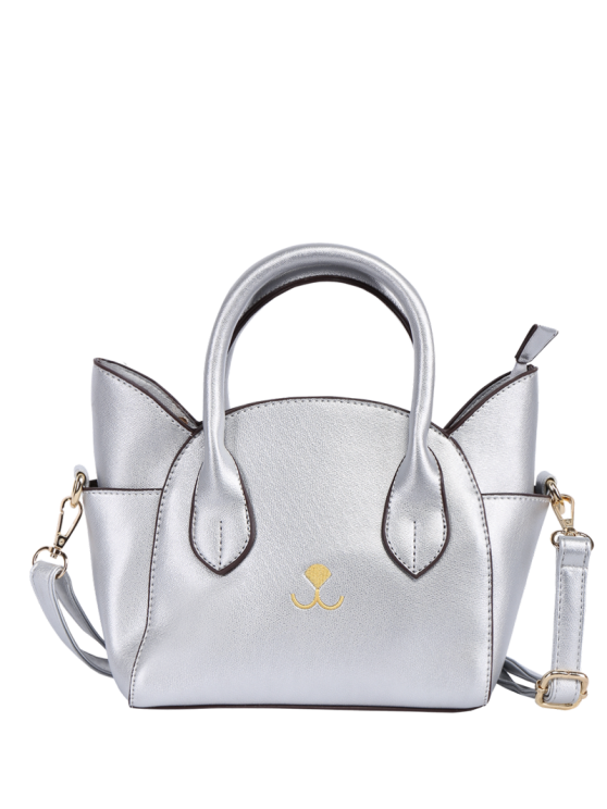 Cat Shape Solid Color Tote Bag - SILVER  Mobile