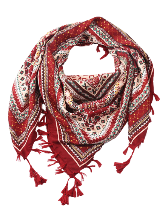 Totem Pattern Tassel Scarf - WINE RED  Mobile