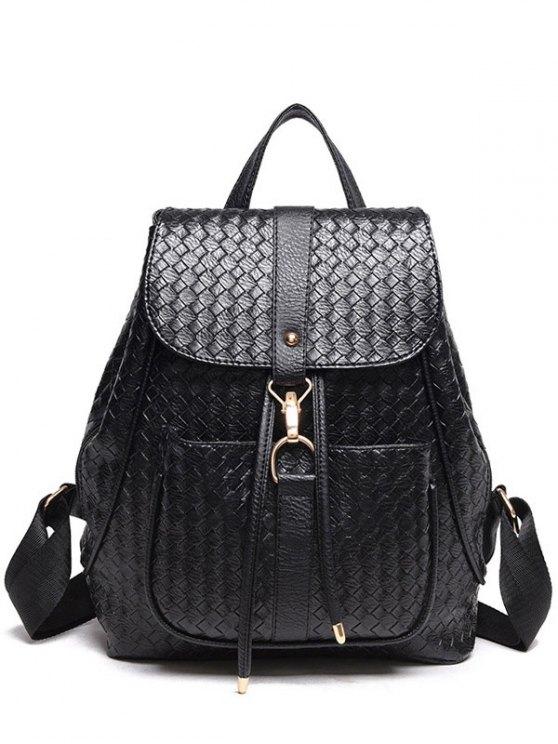 sale Weaving Solid Color PU Leather Satchel - BLACK