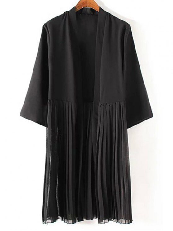 Tassels Spliced 3/4 Sleeve Black Coat - BLACK M Mobile