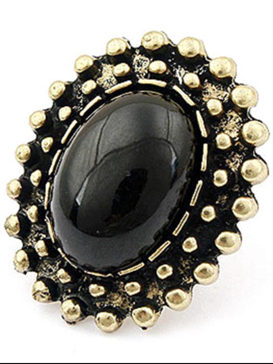 sale Elliptical Faux Gem Inlay Retro Ring - BLACK