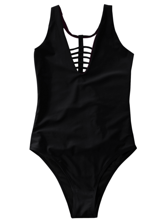 Strappy One-Piece Swimwear - BLACK L Mobile