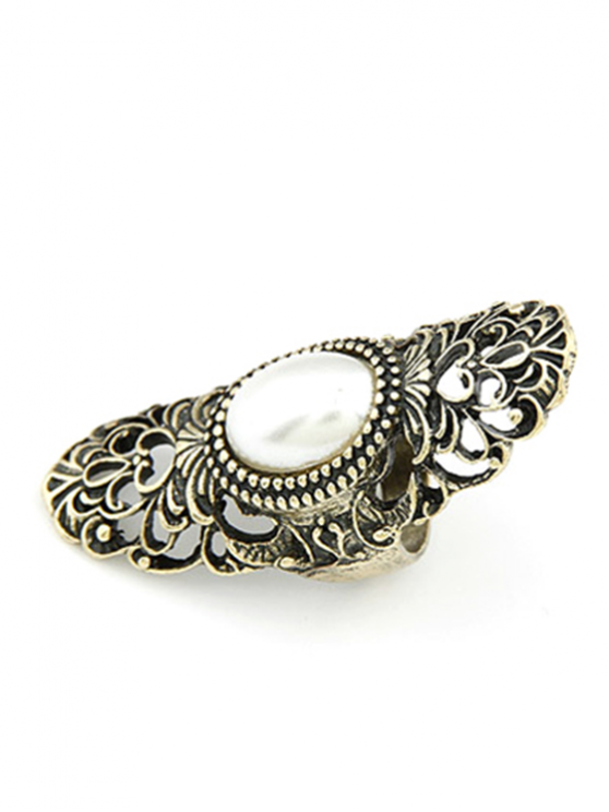 Faux Pearl Hollow Out Retro Ring - GOLDEN ONE-SIZE Mobile