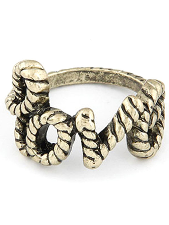 hot English Word Love Shape Alloy Ring - GOLDEN ONE-SIZE