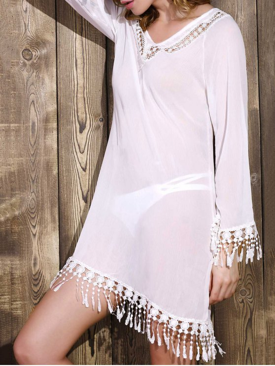 online Cut Out V-Neck Long Sleeve See-Through Chiffon Dress - WHITE XL