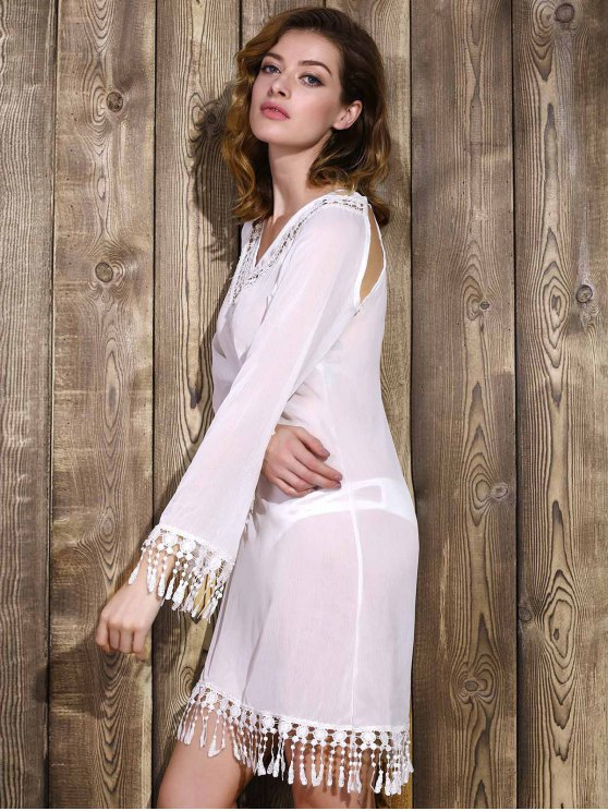 Cut Out V-Neck Long Sleeve See-Through Chiffon Dress - WHITE XL Mobile