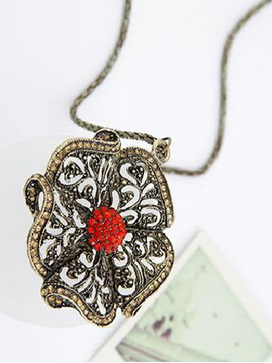 Rhinestone Retro Flower Pendant Sweater Chain - RED  Mobile