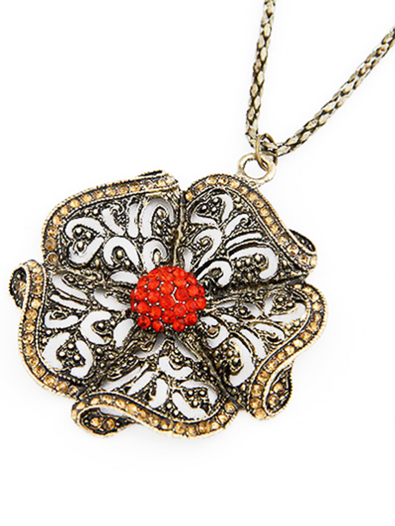 buy Rhinestone Retro Flower Pendant Sweater Chain - RED